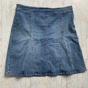 Stamp10 Flare Jean Skirt Denim Skirt Side Zip  16